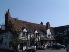 the bull at sonning: good pint, extensive and expensive wine by the glass, good pub grub at high prices